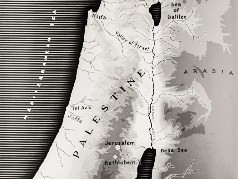 Karte von Palästina 1937