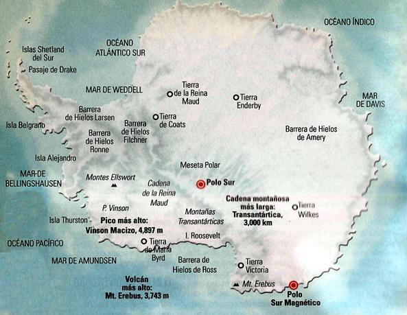 Mapa físico de la Antártida