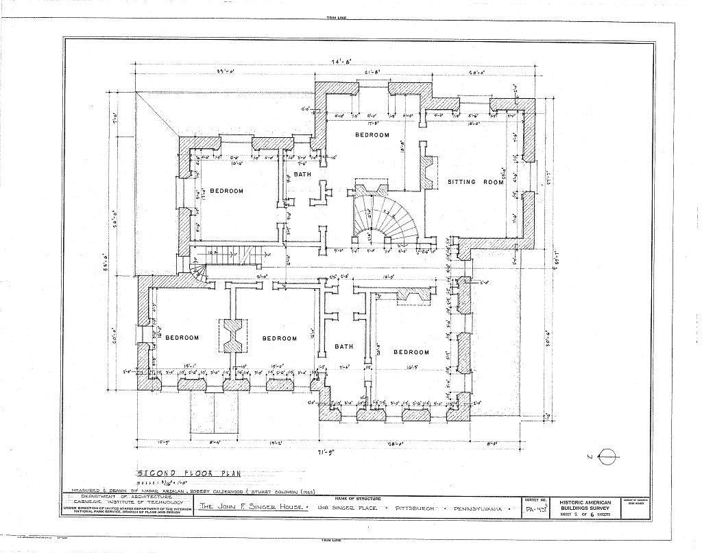 Floor Plans John F Singer House Mansion Pittsburgh