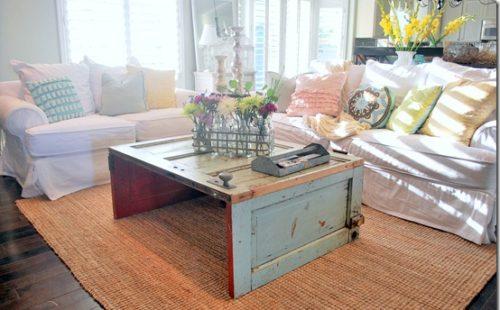 reuse salvaged doors coffee table