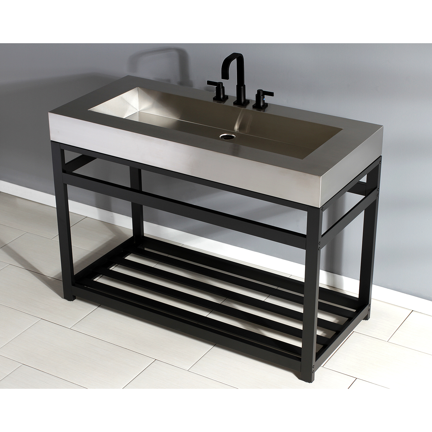 fauceture 49 stainless steel bathroom sink with iron console sink base brushed matte black
