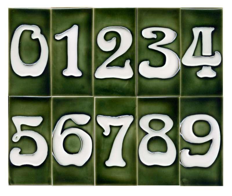 art nouveau house number tile green 3 x 6