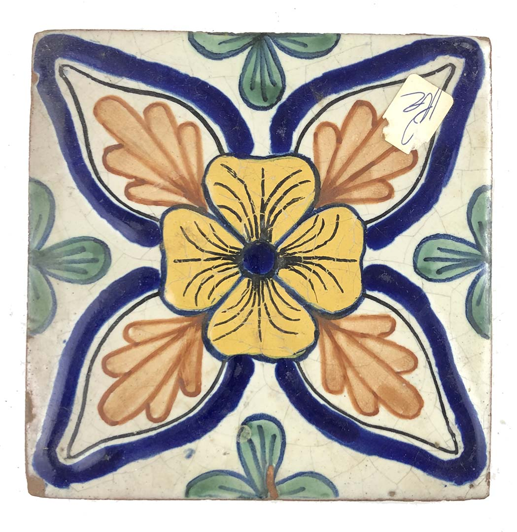vintage mexican talavera terra cotta tile 6 x 6 ivory yellow green blue orange