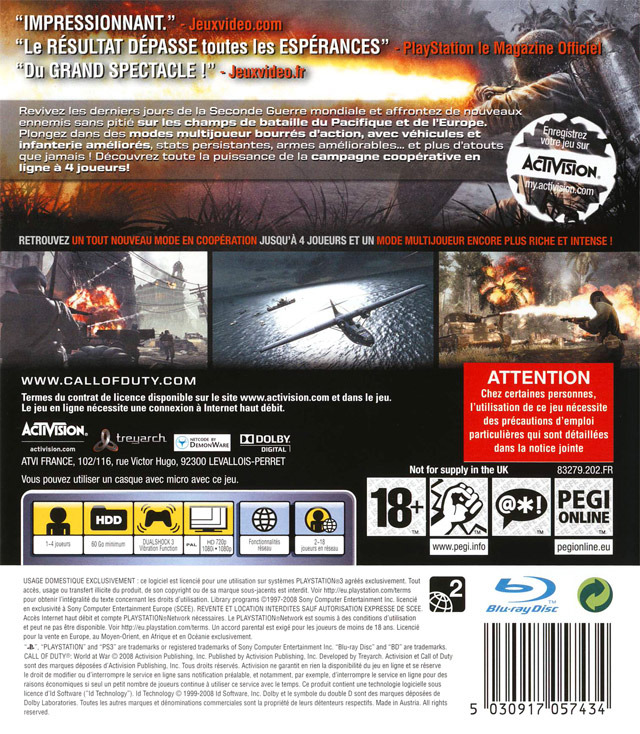 Jeu Video Call Of Duty World At War Sur PS3 1 Images