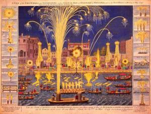 Afbeelding van The Royal Fireworks op de Theems in Londen (1749).