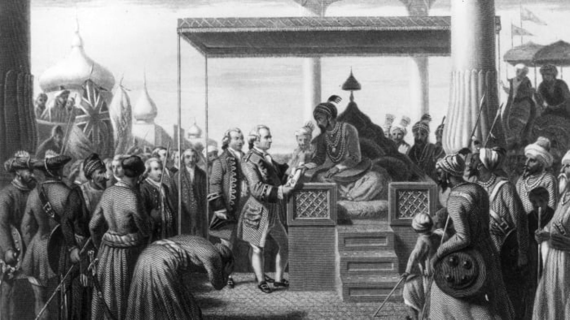 Robert Clive receives from Shah Alam, the Mughal Emperor of India, a decree conferring upon the East India Company the administration of the revenues of Bengal, Behar and Orissa.