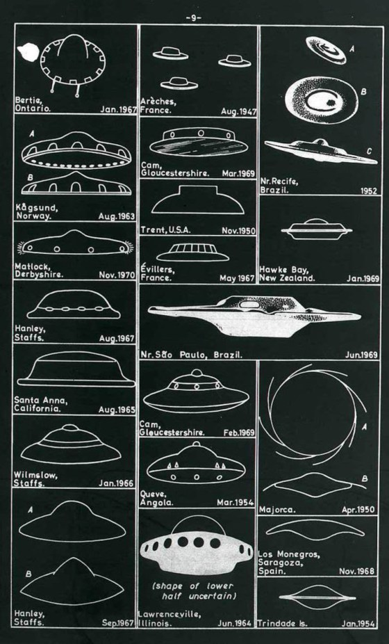 A chart of various UFO sightings from the 1950s through the 70s in the U.S. and U.K.