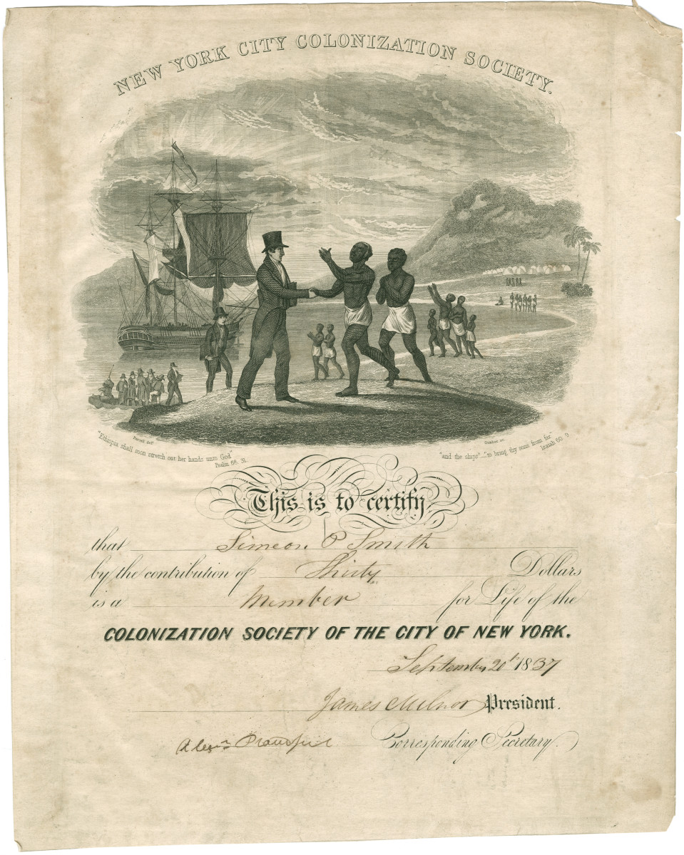 The New York City chapter of the Colonization Society was founded in 1817.