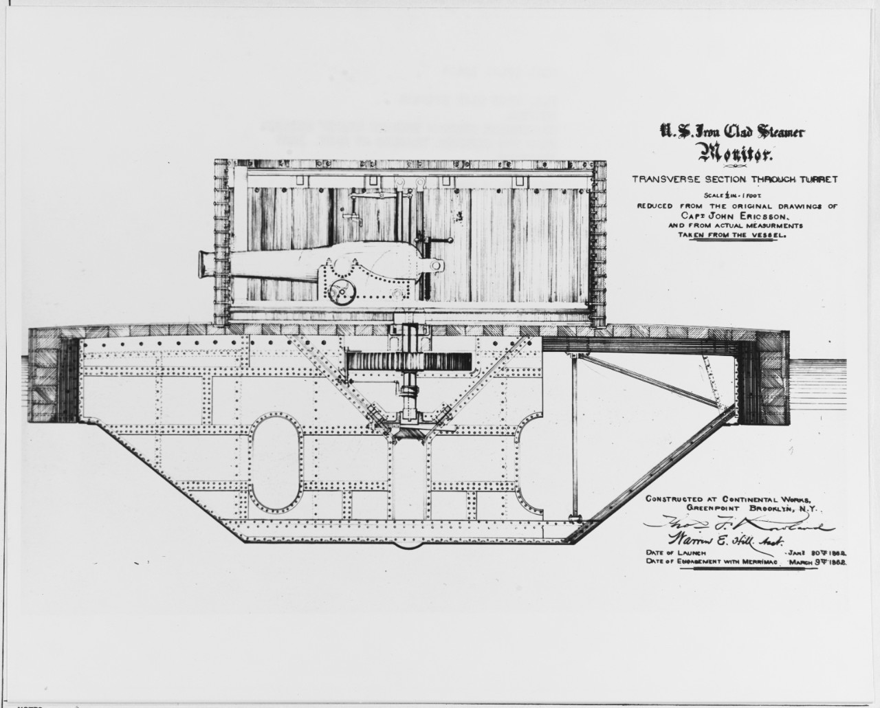 Cutaway Diagram Of The Uss Monitor Uss Monitor Was Innovative