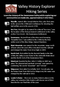Valley History Explorer Hike Series Punch Card