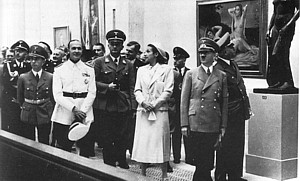 Hitler and visitors at the Great German art exhibition, 1937