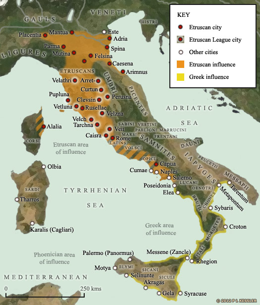 Map of the Etruscans