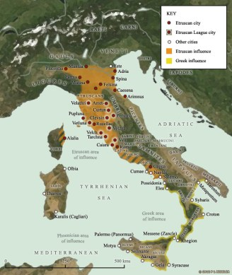 Map of Italy 800 400 BC