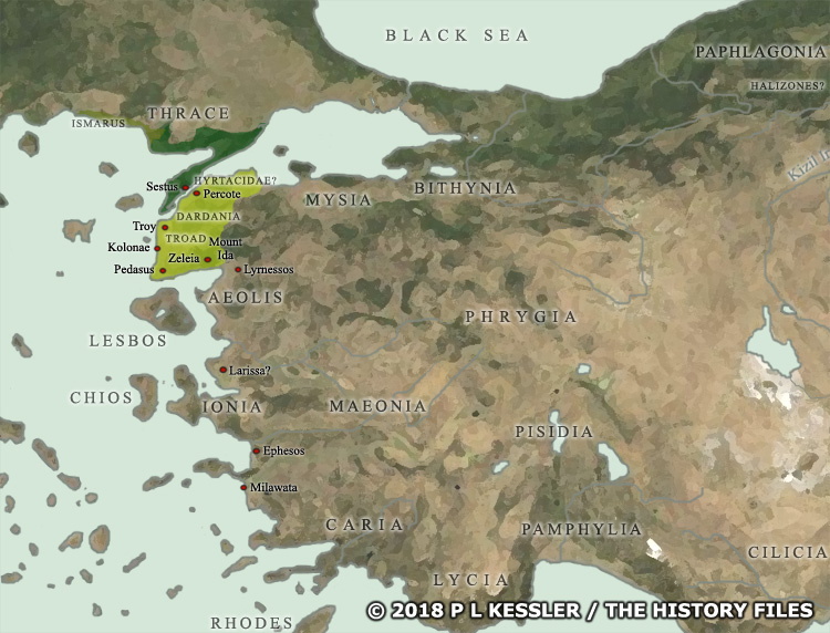 Map of the Trojan War States c 1200 BC