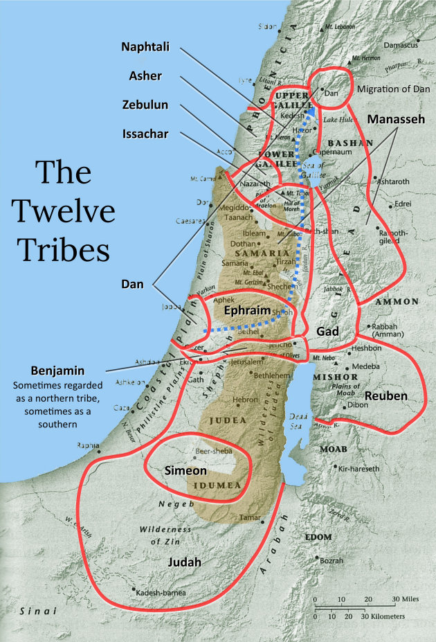 Allocations of the 12 tribes of Israel.