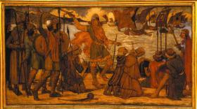 The Viking fleet lands at Dubh Linn, 795. (Dublin City Council)
