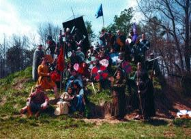 Group photo of the Markland Medieval Militia following their re-enactment of the Battle of Clontarf in April 1984.