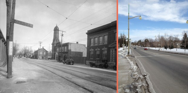 Sussex Ave (between Stanley and John) c. 1940 and 2013.