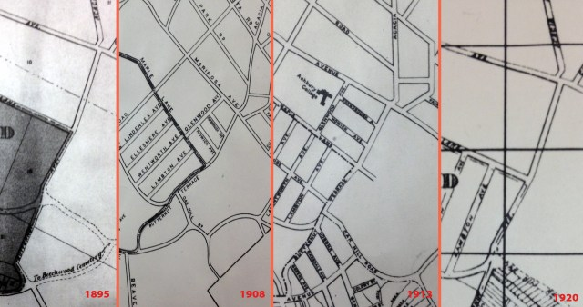 Maps from 1895, 1908, 1913, and 1920 show a Butternut Terrace and Acacia Avenue that do not align perfectly.