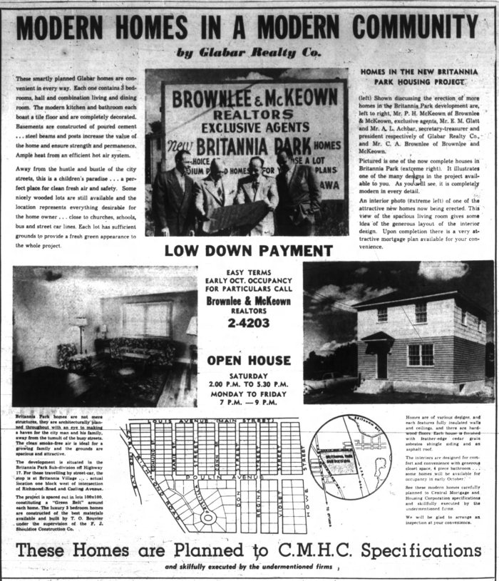Glabar had, up to then, focused primarily on suburban development. This ad is from their second subdivision at Britannia Park. Source: Ottawa Journal, September 29, 1951.