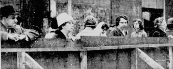 Observers watch the outdoor mass and protest against the city's application of commercial taxes to the Dominion United's property. Source: Ottawa Citizen, April 28, 1961, Page 3.