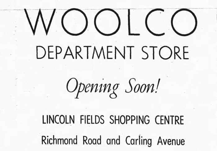 Residents in the vicinity were going to have the opportunity to experience the savings of Woolworth's discount outlets. Source: Ottawa Journal, April 15, 1972.