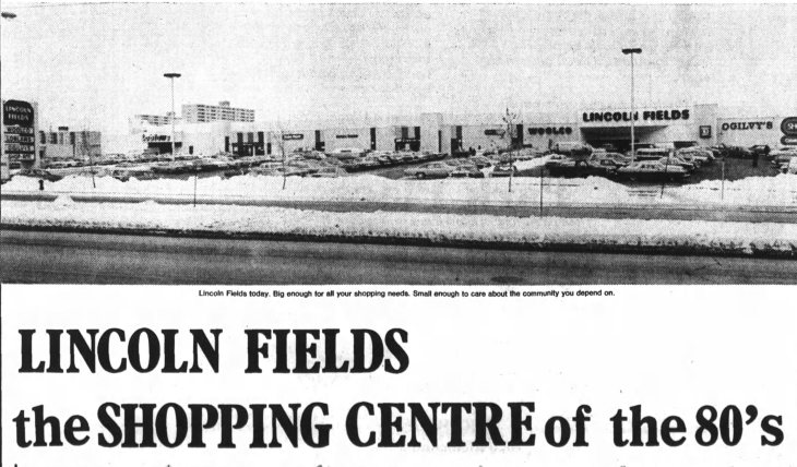 This view of Lincoln Fields, from December of 1979 is of a strong, confident venture looking at the prospect of the 80s with confidence. It wouldn't have the same perspective on the other side of it. Source: Ottawa Journal, December 29, 1979.