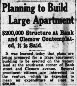 In spite of the general excitement for apartment construction in Ottawa during the 1920s and 1930s, not all plans were able to materialize. Source: Ottawa Journal, March 27, 1930.