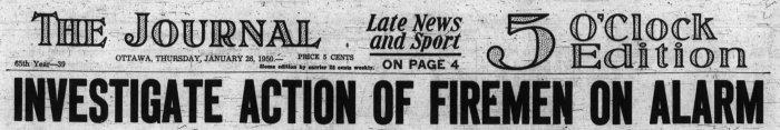 Fire at 394 Bank. Source: Ottawa Journal, January 26, 1950, Page 1.