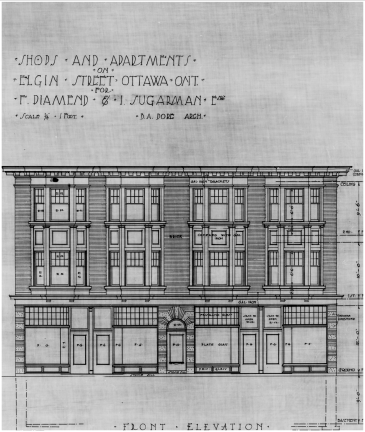 Ben Albert Dore's plan for the addition of shops and apartments. Front elevation. Source: Library and Archives Canada, Ben Albert Dore, Job 34, NMC 112575.