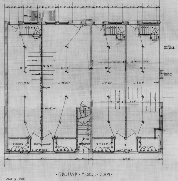 Ben Albert Dore's plan for the addition of shops and apartments. Ground floor. Source: Library and Archives Canada, Ben Albert Dore, Job 34, NMC 112577.