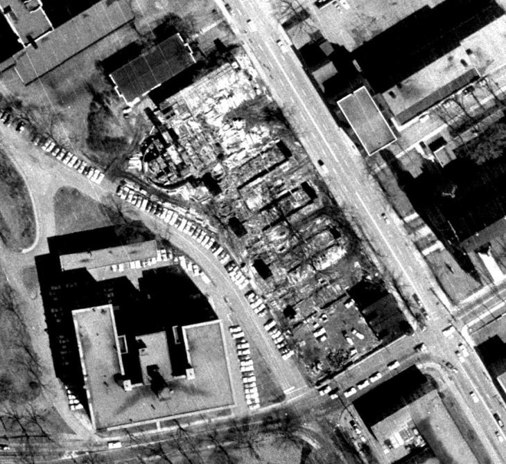 The deconstruction of Laurentian Terrace was caught in the 1965 aerial photographs of the city. Source: geoOttawa.
