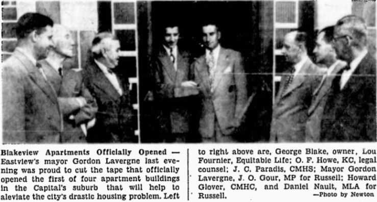 Blake's community connections in Eastview were strong, and the opening of the Blakeview Apartments was about as locally star-studded as it could get. Source: Ottawa Citizen, August 9, 1950, p. 19.