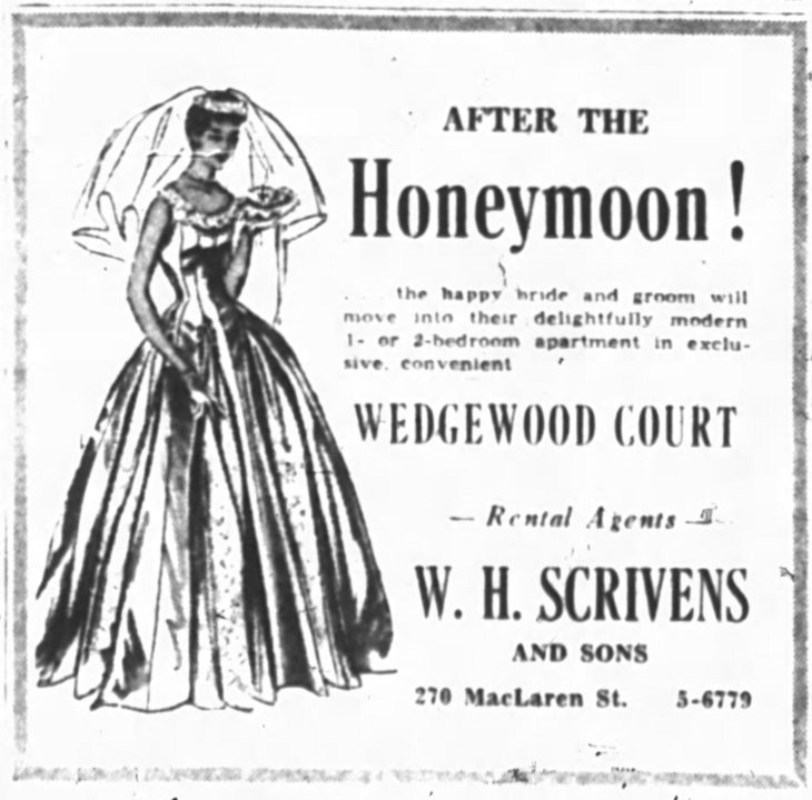 To stress the domestic angle, Scrivens had ads run in a bridal feature as well. Source: Ottawa Journal, March 31, 1955, p. 14.
