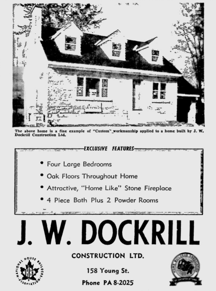 Housing was Dockrill's bread and butter. Source: Ottawa Citizen, September 20, 1957, p. 45.