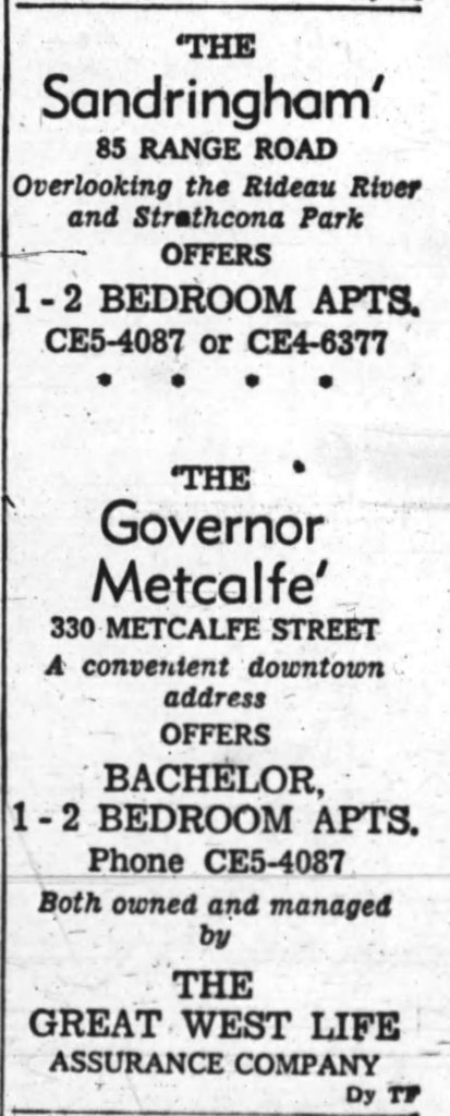 Owned and managed by The Great West Life Assurance Company. Source: Ottawa Journal, May 18, 1963, p. 23.