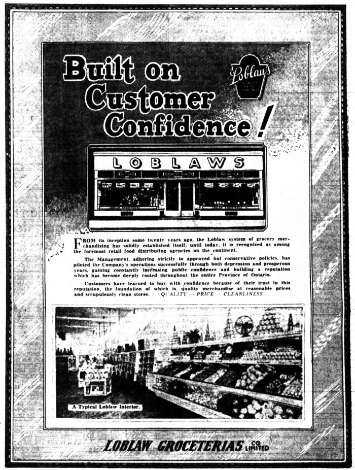 Advertisement for Loblaw's. Source: Ottawa Journal, January 17, 1939, p. 25.