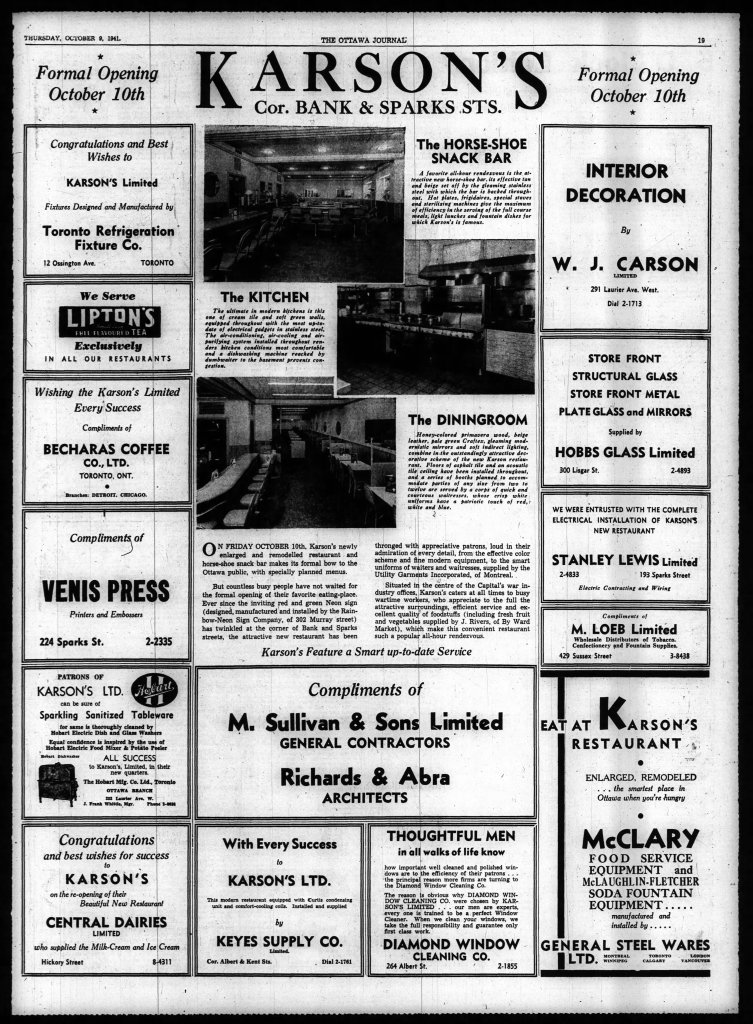 """Karson stressed that the refreshed dining experience was located at the very centre of the """"Capital's war industry offices"""" and catered to them at all times. Source: Ottawa Journal, October 9, 1941, p. 19."""