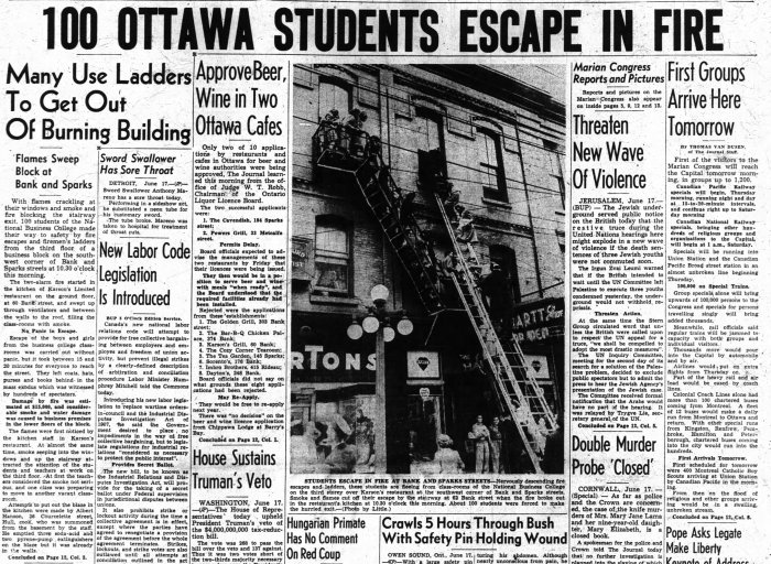 Flames. Again. Source: Ottawa Journal, June 17, 1947, p. 1.