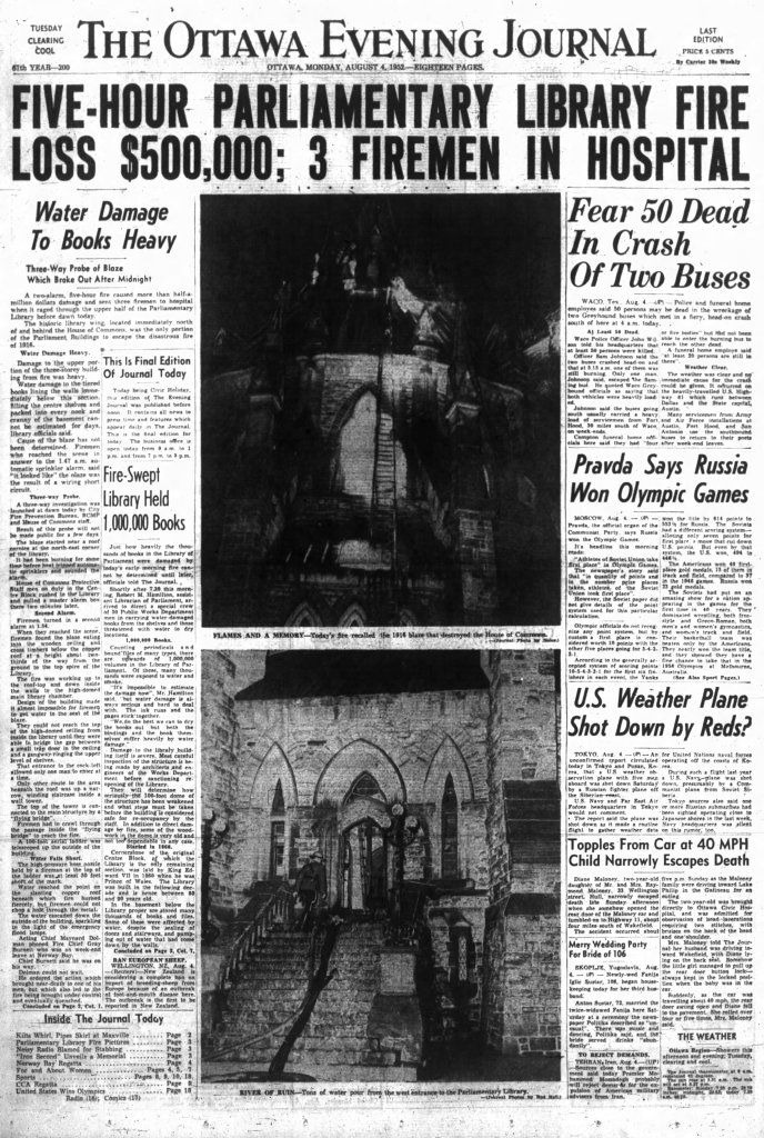 The cover of the Ottawa Journal following the fire at the Library of Parliament. Source: Ottawa Journal, August 4, 1952, p. 1.