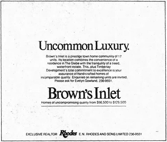 """Note that tag line: """"uncommon luxury"""". Source: Ottawa Journal, July 22, 1978, p. 11."""