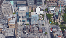 The site today. With the exception of a slightly lower-than-allowed office tower, the development appears to have been constructed as agreed to in 1978. Image: Google Maps.