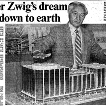 Zwig poses with the model of his Atrium on Bay project. Source: Toronto Star, September 27, 1980, p. D9.