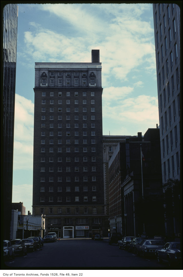 In the vicinity of the King Edward Hotel, seen here from Toronto Street. September 3, 1979. Image: City of Toronto Archives, Harvey R. Naylor Fonds (1526) File 49, Item 22.