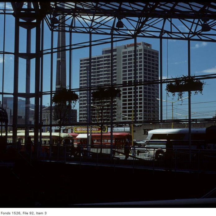 Before Atrium on Bay, from the recently-completed Eaton Centre. LuCliff Place looked awfully lonely. Image: City of Toronto Archives / Harvey R. Naylor, Fonds 1526, File 92, Item 3. May 11, 1977.