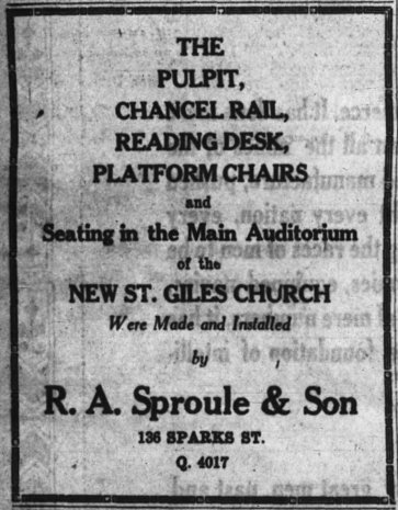 Sproule supplied much of the wooden furnishings for the St. Giles Church. Source: Ottawa Journal, May 4, 1929, p. 14.