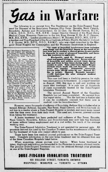 Advertisement for the Toronto Duke-Fingard Hospital. Source: Barrie Examiner, October 3, 1940, p. 3.
