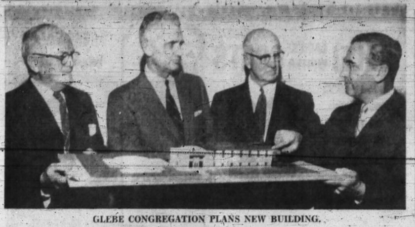 John Defries explains his design for Glebe United's addition, 1958. Source: Ottawa Journal, January 10, 1958, p. 4.
