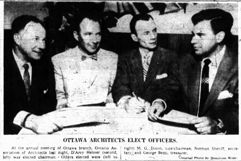 From left to right: Dixon, Helmer, Sheriff, Bemi. Source: Ottawa Journal, May 8, 1958.