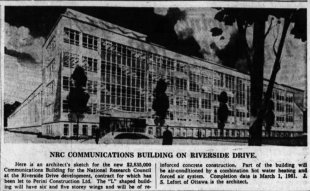 LeFort was hired to design the National Research Council's Communications Research Building at Confederation Heights. Source: Ottawa Journal, February 25, 1959, p. 7.